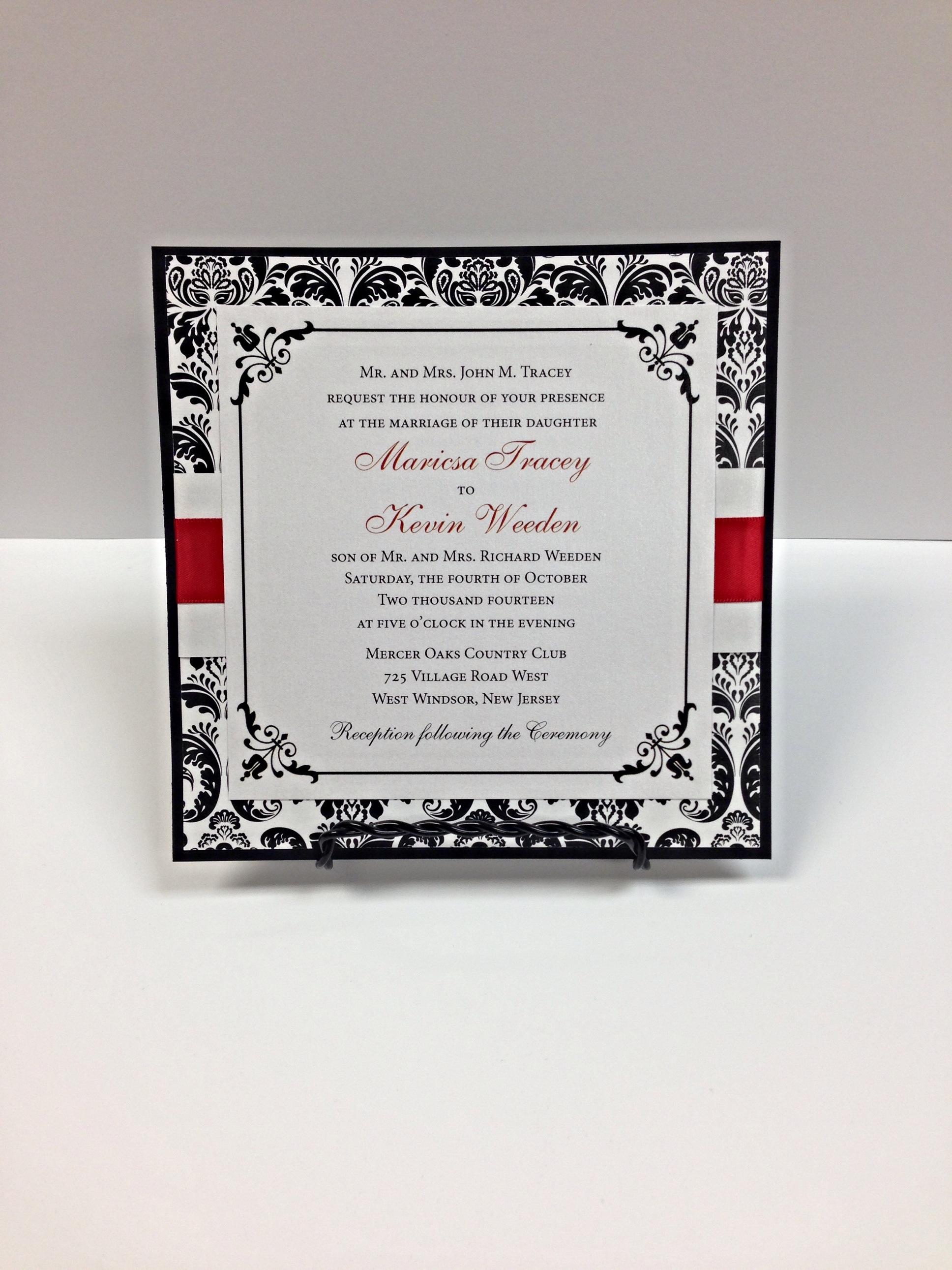 Damask Invitation With Red Ribbon